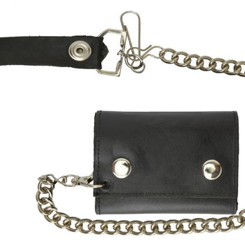 Black Genuine Leather Biker's Wallet Card Holder w/ Chain Trifold New