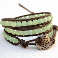 Chan luu style boho chic wrap bracelet. Triple wrap beaded leather bracelet -Made to order-