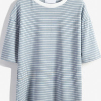 Sky Blue Striped Short Sleeve T-Shirt