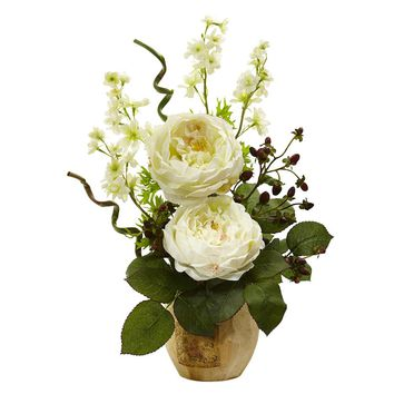 Silk Flowers -Large White Rose And Dancing Daisy In Wooden Pot Arrangement
