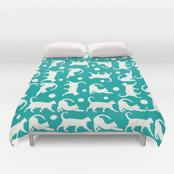 Cats Stretching: Turquoise IVORY Duvet Cover by Eileen Paulino