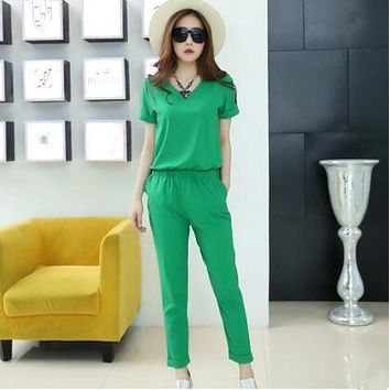 Fashion Sexy Jumpsuit Summer Party Overalls Rompers Chiffon Elegant Jumpsuits for Women 2017 Green Bodysuit