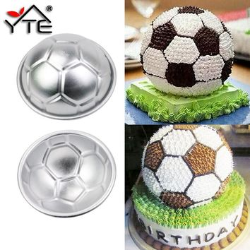 2 Pcs DIY 3D Football Shape Bath Bomb Cake Mold AluminumBall Sphere Non-toxic Cake Chocolate Pan Mold Kitchen Baking Tools 7cm