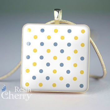 art jewelry,minky dots resin pendant,handcraft scrabble tile pendant- T0250SI