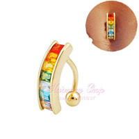 Sexy Body JEWELRY 14G rainbow Color crystal navel rings bar belly piercing 18K Gold Belly Button Ring Piercing Jewelry