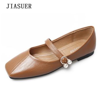 2018 Spring Autumn Mary Janes Woman Flats Buckle Strap Casual Square Toe Women Shoes Apricot Khaki Gray Black Size 35-41