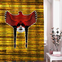 Cardinal Warrior shower curtain adorabel batheroom hane made