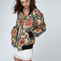 Bomber Jacket in Rose tapestry Iced by Motel