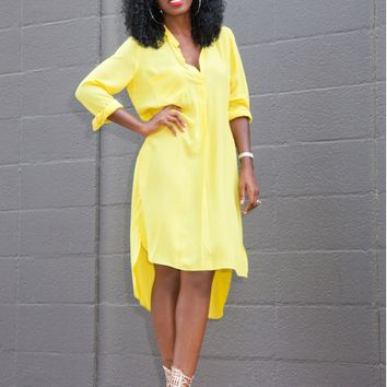 Yellow V Neck Asymmetric Slit Dress
