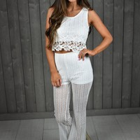 Crochet Pant Set- White - Thirty One Boutique