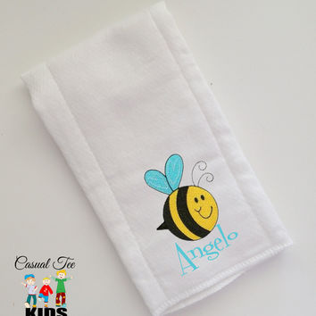 Baby Burp Cloth Embroidered with Cute Little Critter and Baby's Name Personalized Spit Up Cloth Custom Burp Cloth