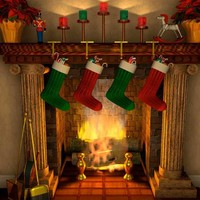 Christmas Stocking Fireplace Illustration Photography Backdrop - 9336