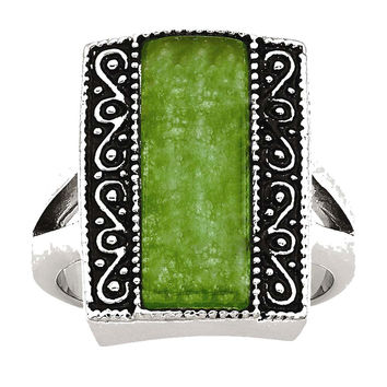 Stainless Steel Synthetic Jade Antiqued Rectangular Ring: 6