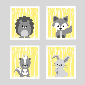 Woodland Animals Gray Forest Animals on Light Yellow CUSTOMIZE COLORS, 8x10 Prints, set of 4, Nursery Decor Print Art Baby Room Baby Girl