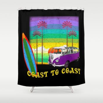 Retro Camper Van Shower Curtain by Inspired Images