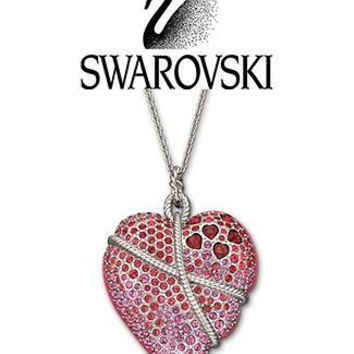 Swarovski Long Necklace Pink & Red Heart Roxane Pendant #1126833