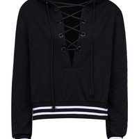 Black Plunge Lace Up Front Stripe Trims Hoodie