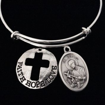 Fertility Jewelry Faith Hope Love Saint Gerard Adjustable Bracelet Expandable Charm Bracelet Double Sided Religious Jewelry Stacking Trendy