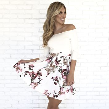 Winter Wonderland Floral White Dress
