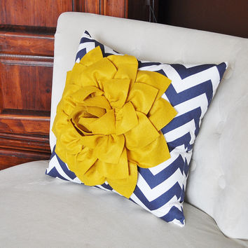 Gold and Navy Pillow. Flower. Chevron. Home Decor.