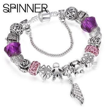 SPINNER Angel style vintage feather dangle charm bracelet for girl snake chain Brand bracelet jewelry