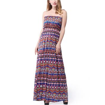 New Arrival Bohemian Fit And Flare Print Sleeveless None Floor-length Strapless Empire Strapless Summer Dresses