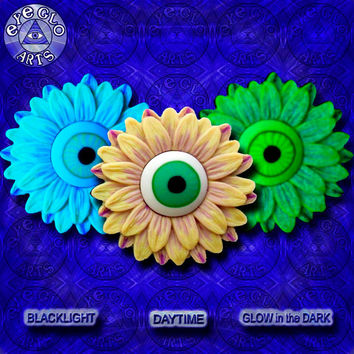 Halloween Party Neon Glow in the Dark Eyeball Flower Pendant in Yellow and Purple EyeGloArts Handmade Blacklight jewelry UV wearable Art