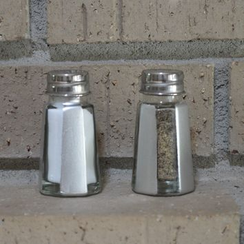 Set of Hand Painted Silver and Clear Stripe Salt & Pepper Shakers