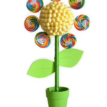 Large Flower Lollipop Candy Topiary, Flower Topiary, Wedding Flower, Centerpiece, Wedding, Candy Buffet, Baby Shower, Bee, Rainbow Flower