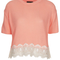 Knitted Lace Hem Crop Top - Topshop USA