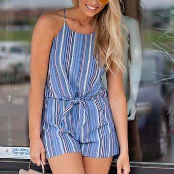 Living On The Coast Front Tie Romper : Blue