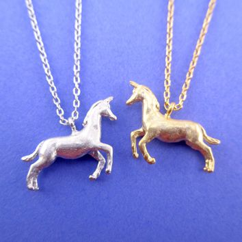 3D Unicorn Horse Shaped Pendant Necklace in Silver or Gold