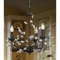 3-Light Iron & Crystal Chandelier