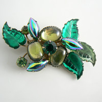 Vintage Green Molded Glass And Rhinestone Brooch