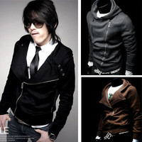 Korea Men's Fashion Casual Hoody Hoodies Fit Sweats Jacket Outerwear Top M L XL