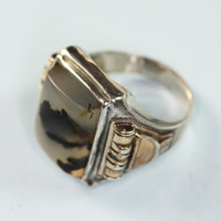 Vintage Ostby Barton Art Deco Sterling and Agate Ring Gold Fill Accent