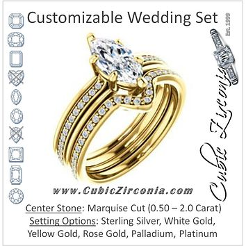 CZ Wedding Set, featuring The Rikki engagement ring (Customizable Marquise Cut Design with Double-Grooved Pavé Band)