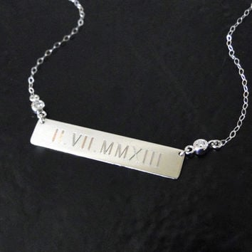 Engraved 14K White Gold Diamond Nameplate Necklace, Personalized Name Plate As Seen on Kim Kardashian, Kate Hudson, Roman Numeral