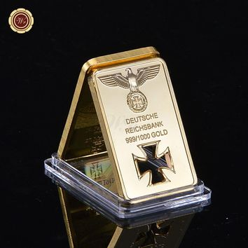 1Oz Gold Plated Deutsche Reichsbank Bar Cross Collection Coin As Souvenir Gift