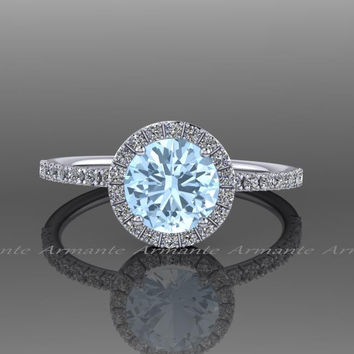Aquamarine Engagement Ring, 14k White Gold Halo Aquamarine And White Sapphire Wedding Ring, Bridal Jewelry Re00073waq
