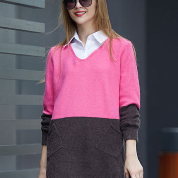 Plus Size Collared Color Block Sweater
