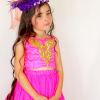 Girls Pink and Gold Dress - Pink Party Dress - Hot Pink - Pink Birthday Party Outfit