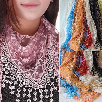 Women's Hollow Tassel Lace Rose Floral Knit Triangle Scarves/Shawls