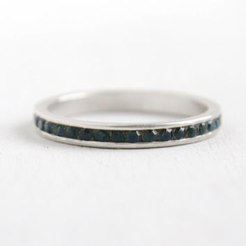 Antique Art Deco Sterling Silver Sapphire Blue Eternity Ring - Size 9 Glass Stone Dated 1937 Wedding Band Jewelry