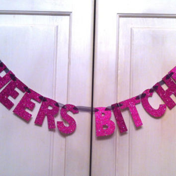 CHEERS Bitches Glitter Banner / Bachelorette Party Decoration / Girls Night Decoration / Photo Prop