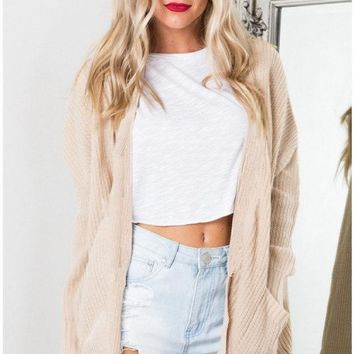 Apricot Casual Knit Cardigan Jacket