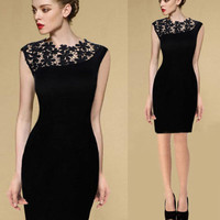 New Black Lace Short Mini Dress Women Sleeveless Bodycon Cocktail Evening Party