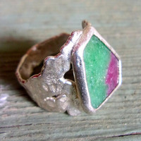 Ruby Zoisite C&R 99% Silver Ring, Handcrafted Artisan, Organic, Vintage sz 8.5