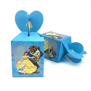 12pcs Beauty and  he Beast Cartoon Candy Box Baby Shower Birthday Party Decorations Paper Kids Gift Box Packaging Party Favors