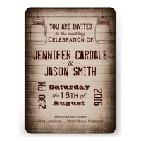 Mason Jars Rustic Country Wood Wedding Invitations